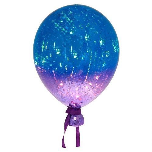 Two Tone Large Glass LED Light Up Aqua and Purple Balloon
